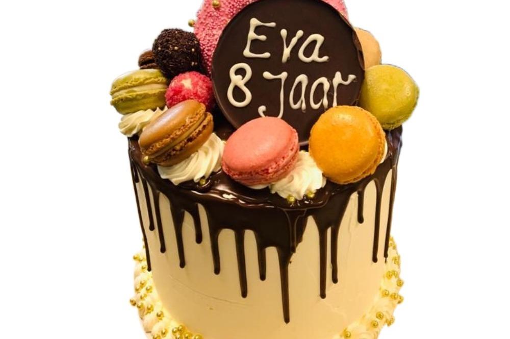 Drip taart chocolade & vanille 15 personen