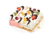 Met foto | Half slagroom half marsepein taart